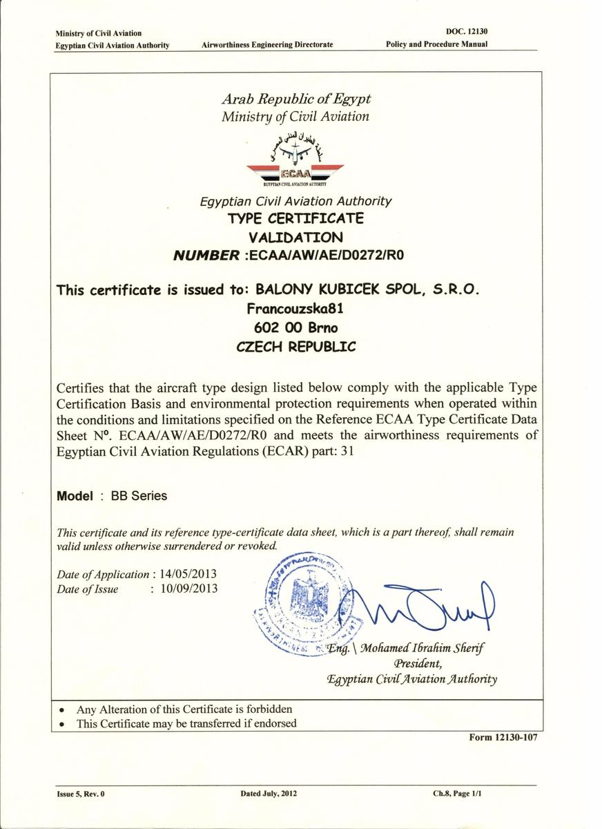 Certification In Egypt Finished Kubicek Balloons