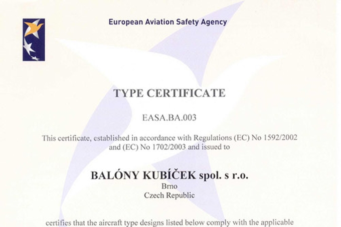 All Kubicek Balloon types are first in Europe certified by EASA!