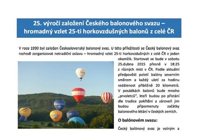 Czech Balloon Federation celebrates 25th Birthday